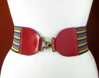 "1940s or 1950s Cincher-style Vintage Belt - Multi-colored Elastic with Red Leather - 28"" - 30"" Belt"
