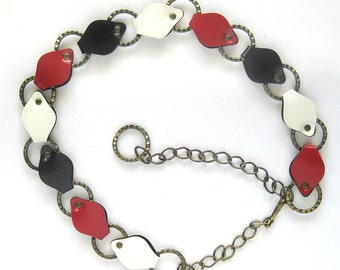 MOD Vintage Chain Link Belt in Red White and Blue - Funky - Seventies - Perfect for Tunic or Jumpsuit