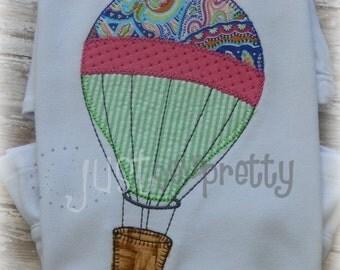 Vintage Blanket Hot Air Balloon Applique Embroidery Design