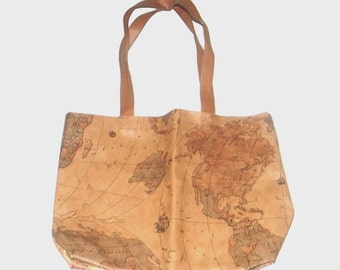 1990s purse / vintage 90s purse / map / tote bag / Trip Around the World Purse Tote
