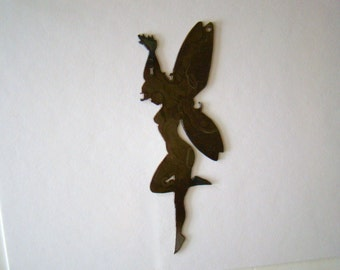 Large Fairy Rusted Metal Cutout