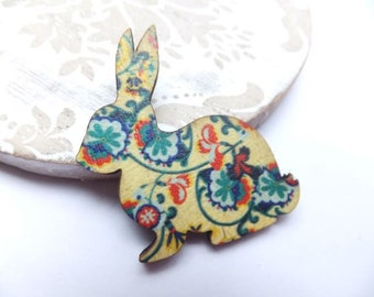 Yellow Vintage Floral Wooden Rabbit Brooch