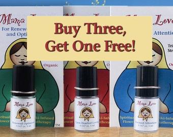 Four Triple Strength Flower Essence Aromatherapy Perfumes -- Buy 3, Get 1 Free, Organic, Reiki-Infused