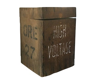 High Voltage Mining Box | Vintage Explosive Storage Crate | Old Industrial Decor