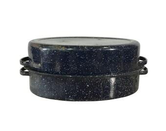 1950s Graniteware Roasting Pan, Clean, Vintage Serving Dish, Black and White