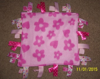 Handmade, Fleece ribbon blanket, Hearts and Flowers