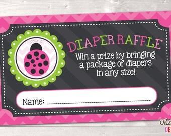 Printable Diaper Raffle Tickets Pink & Green Ladybug INSTANT DOWNLOAD PDF