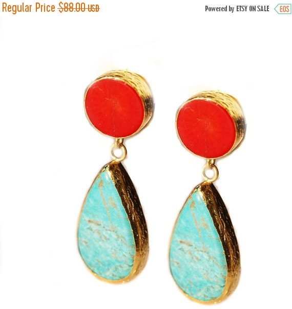 30% Fall Sale Turquoise and Coral Earrings