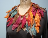Crocheted Handmade Cascading Leaf Scarf, Lariat, Necklace, Belt