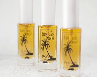 Black Sands Coconut Perfume | Summer Inspired Fragrance of Coconut Milk, Vanilla Beans, and Driftwood