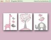 Pink and gray baby Nursery Art Girl's Room Decor - Baby Girl Giraffe Nursery Elephant  Birds Tree Home Decor - Set of three prints