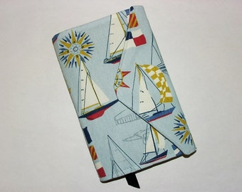 Paperback Book Cover Trade Size Fabric Bookcover Large Book Sleeve: Blue Red Tan White Sailboat Nautical Print