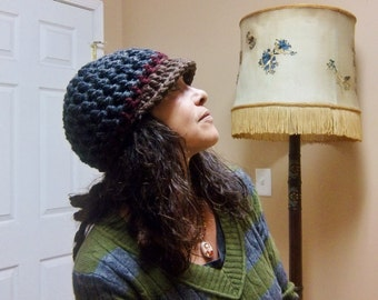 BILL HAT Handmade Crochet Hat with Bill Soft Chunky Wool Blend * CHarCoaL BRowN * Womens Hat Mens Hat