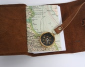 Brown leather travel journal with compass and map /Pocket Sized