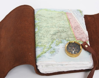 Brown Leather Travel Journal with Working Compass