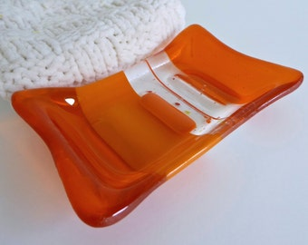 Fused Glass Soap Dish in Orange