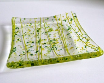 Fused Glass Plate with Yellow and Green Decor by BPRDesigns