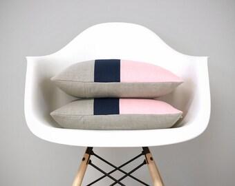 CUSTOM Colorblock Pillow Cover (Set of 2)   Original 12x16 Design by JillianReneDecor, Modern Home Decor, Pastel Pink and Navy, Rose Quartz