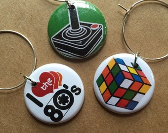 Love the 80s Wine Charms Set of 6