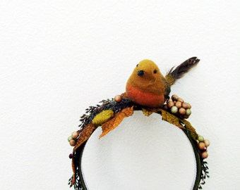 Golden Bird Headband / Gold Feathered Bird, Golden Yellow & Greens Greenery and Silk Leaves / OOAK Fashion Accessory / Unique Gift Under 75