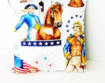 Paul Revere & Friends Patriotic Pillow / White, Blue, Red, Yellow, Brown / 14 x 14 Inches  / Unique Gift Under 30