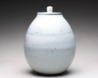large handmade lidded jar, ceramic canister, decorative jar with orange shino and bluish white wood ash glazes