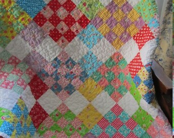 Scrappy 16/4 Patch Baby Girl or Toddler Quilt - Sweet and Colorful