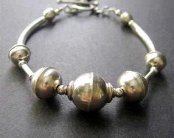 Sterling Silver Bracelet, Beaded Sterling Silver Bracelet, Layering Bracelet
