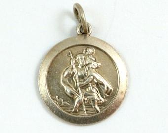 St Christopher Charm, Sterling Silver, Saint Christopher Pendant, Religious Medal Travel Protection Safe Journey Travel Saint Amulet Vintage