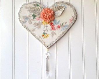 Floral wallpaper Heart wall hanging ornament upcycled coral millinery flower vintage wallpaper French text prism