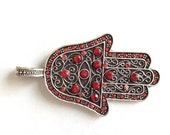 1pc- Matte Silver plated Hand of Hamsa with rhinestone bead pendant-68x40mm-(402-035SP)