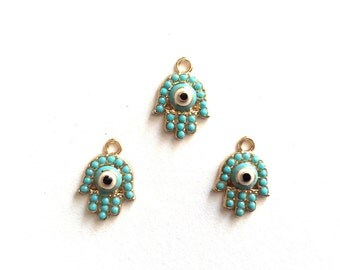 2 pc- Matte Gold Plated  HAND with blue rhinestone charm-16x12mm-(006-049)