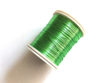 28 gauge (.32mm) Green color Brass Beading Wire, 50mt Spool Tiara Making