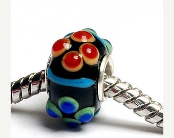 ON SALE 50% OFF Glass Lampwork Beads  - Large Hole Fiesta Bumps Rondelle Bead  - Sc10082