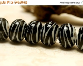 ON SALE 50% OFF Seven Zebra Stripes Rondelle Beads - Handmade Glass Lampwork Bead Sets 10204401