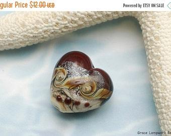 ON SALE 40% OFF Dark Cherry Stardust Heart Focal Bead - Handmade Glass Lampwork Bead -11831305