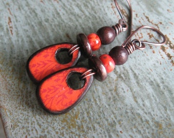 Decoupage Wood Tile Earrings-Wood Earrings-Orange Earrings-Rustic Copper-Artisan Decoupage-Bamboo Print
