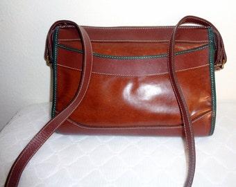 Sanger and Harris cross body bag satchel purse British tan smooth leather top zip closure  brass hardware vintage 80s