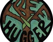 tree hugger 4 inch sticker