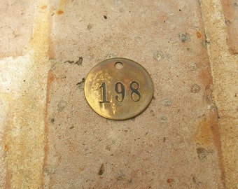 Vintage Brass Tag Vintage Brass Numbered Tag Number 198 Tag  Steampunk Jewelry DIY Jewelry Tag