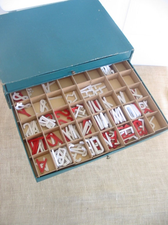 Basket Weaving Supplies Kentucky : Vintage letters numbers supplies sign making kit red white