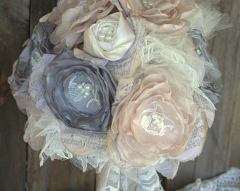 Bridal Bouquet, Shabby chic  Gray and  Champagne bouquet, Fabric wedding bouquet , alternative bouquet,  wedding flowers, silk bouquet
