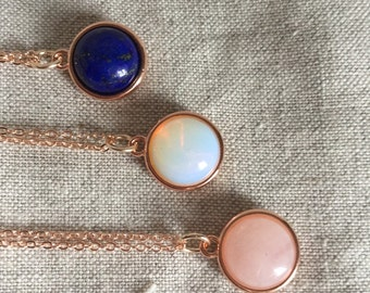 Rose Quartz Rose Gold necklace, Rose Quartz necklace, Rose Gold, opalite or lapis necklace, Bridal Jewelry