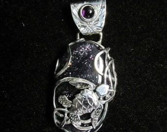 Sterling Silver and Iolite Sunstone Brutalist Sea Turtle Pendant