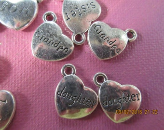 Heart Charm, Mom, Son,Daughter, Brother,Sister, Aunt, Uncle, Grandma, Grandpa
