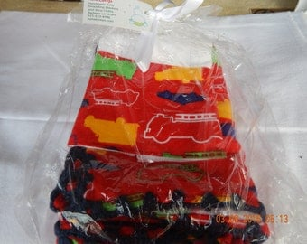 Baby Blanket and Burp Cloth Set -- Red with trucks and cars on it -- some outlined