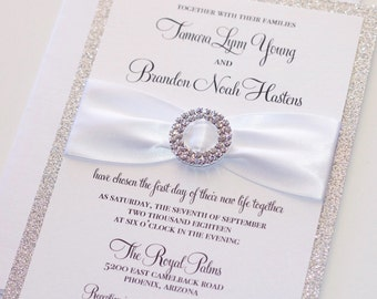 Silver Glitter Wedding Invitation - Elegant Wedding Invitation - Rhinestone Bling Invite, White Silver Invitation - Tamara Sample