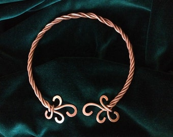 Celtic Viking Elven Roman Copper Torque Necklace