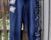 Junked Up Jeans/Lace and Vintage Crochet Embellishment/Plus Size/Stretch/Denim Funwear