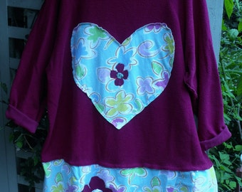 Plus Size Inside Out Fleece Tunic, Funky Raspberry and Cotton Print Tunic, Sheerfab Fall Funwear